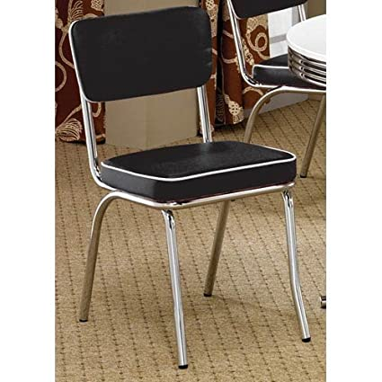 Etonnant Retro Side Chairs With Cushion Black And Chrome (Set Of 2)