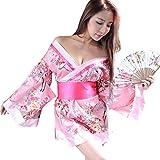 YOMORIO Sexy Kimono for Women Traditional Japanese Satin Bathrobe Cosplay Kimono Lingerie Pink