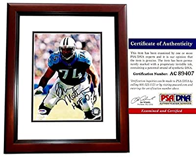 Bruce Matthews Autographed Tennessee Titans 8x10 Photo Mahogany Custom Frame - HALL OF FAME 2007 Inscription - PSA/DNA Authentic