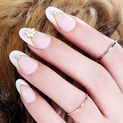 Aegenacess 24Pcs False Nails Medium Oval Fake Design Pink Flower White Shiny Press On Gel Nail Acrylic Artificial Manicure Tips French With Two Double Sided Stickers for Women and Girls]()