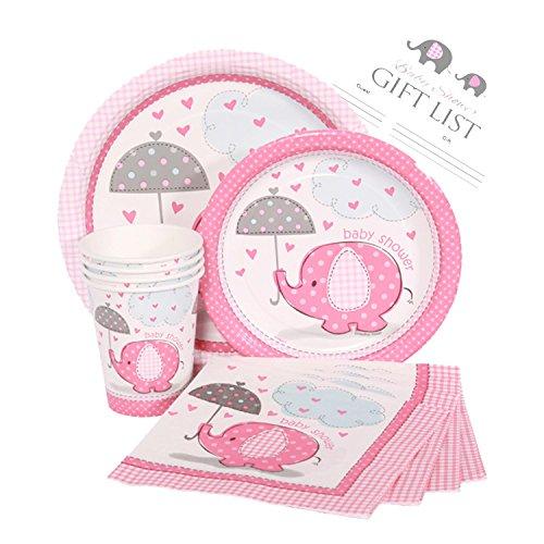 Umbrellaphants Girl Baby Shower Party Supplies Set - Pink Elephant Design - Plates, Cake Plates, Cups, Napkins & Decorations (Standard - Serves 16)