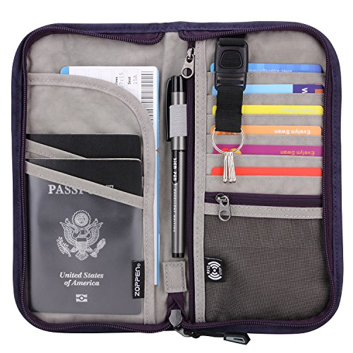 Zoppen RFID Travel Wallet & Documents Organizer Zipper Case, Family Passports Holder with Removable Wristlet Strap (Purple)