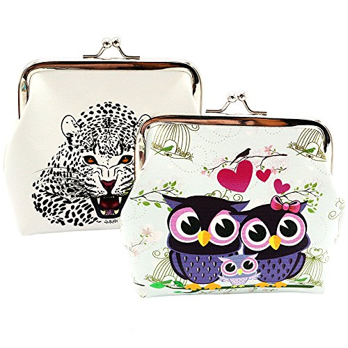 - Oyachic 2 Packs Coin Pouch Cute Animal Prints Purse Clasp Closure Clutch Wallet Bag Gift 4.7''L X 4.3''H(2 Pack owl and leopard)