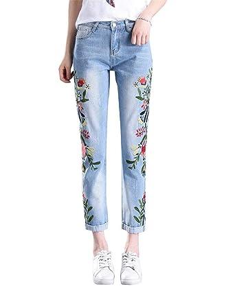HaiDean Pantalones Vaqueros para Mujer Flores Pantalones ...
