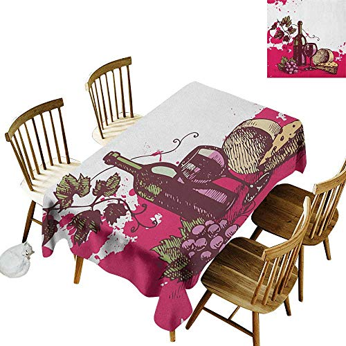 Rectangular tablecloths in a variety of colors and sizes Can be used for parties Vintage Sketchy Artwork Cheese Alcoholic Drink Fruit Abstract Design W60 x L84 Inch Hot Pink Olive Green Cream
