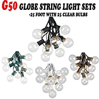 25 Foot G50 Clear Outdoor Lighting Patio Globe String Lights, Clear Bulb Set, 25 Bulbs by Novelty Lights