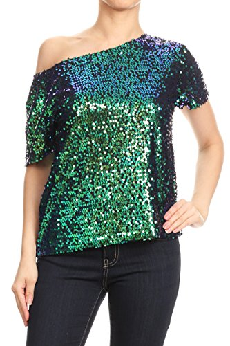 Anna-Kaci Womens Short Sleeve One Shoulder Sexy Sequin Top Blouse, Mermaid, XX-Large ()