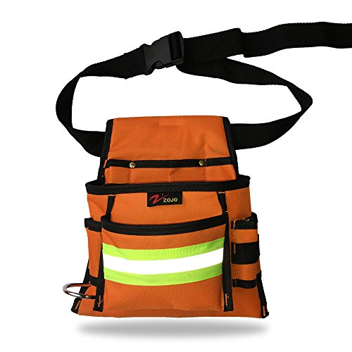 Reflective Electrical Maintenance Tool Pouch Bag Technician's Tool Holder Work Organizer for Roofers Maintenance Workers Construction Workers Plumbers Fits the Waist to 44 inch(Single Updated, Orange) by zojo (Image #2)