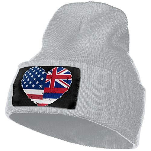 te USA Flag Heart Warm Knitting Hat Mens Womens, 100% Acrylic Watch Cap ()