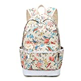 Artone Floral Birds School Bag Daypack Casual Backpack With Laptop Compartment Khaki