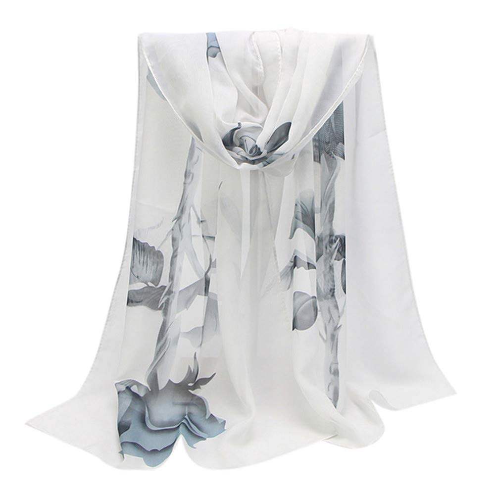 Fashion Scarfs for Women Hot Sale,DEATU Ladies Rose Long Soft Wrap Chiffon Scarf Shawl(White)
