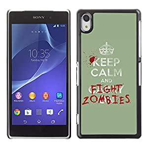 CaseLord Carcasa Funda Case - Sony Xperia Z2 / Funny Keep Calm & Fight Zombies /