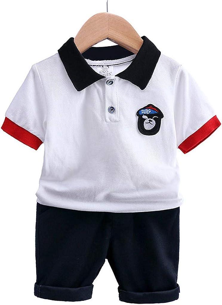 Subfamily Conjuntos de Ropa para bebés, niño Baby Baby Boy Insignia Polo Camiseta Tops Pantalones Ropa de algodón bebé Set,Niños 1 a 6 años