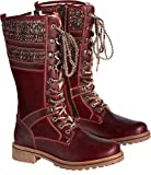Bos. & Co. Women's Holding Snow Boot, Red/Scarlet/Brown/Beige Mountain/Oil Suede/Sweater, 36 EU/5.5-6 M US
