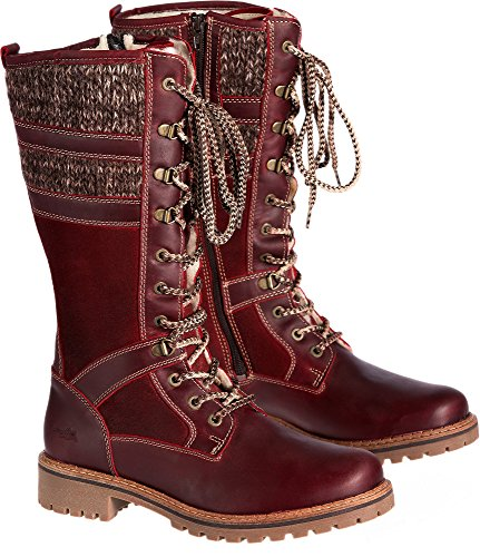 Bos. & Co. Women's Holding Snow Boot, Red/Scarlet/Brown/Beige Mountain/Oil Suede/Sweater, 36 EU/5.5-6 M US by Bos. & Co.