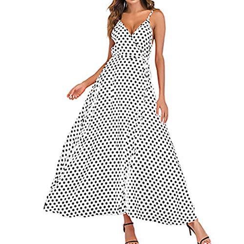 Vestido Swing Escote L Profunda En White Corte JIZHI Maxi V Primavera Mujer qt7cEcwZ