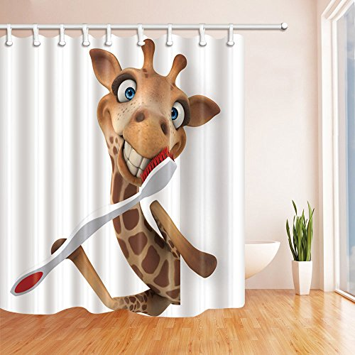NYMB 3D Digital Printing Giraffe Brushing Teeth Kids Shower Curtain, Mildew Resistant Fabric Bathroom Decorations, Bath Curtains Hooks Included, 69X70 inches (Multi14)