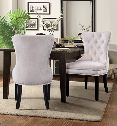 Chic Home Diana Velvet Modern Contemporary Button Tufted Armless Hourglass with Silver Nailhead Trim Tapered Solid Birch Legs Dining Chair, Beige(Set of 2)