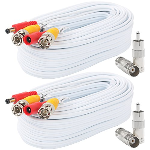 Postta BNC Video Power Cable (2 Pack 50 Feet) Pre-Made All-in-One Video Security Camera Cable Wire with Four Connectors for CCTV DVR Surveillance System