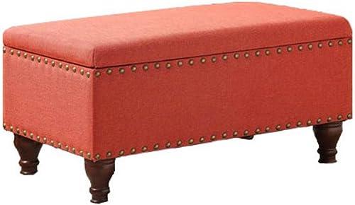 HomePop Quality Elegant Stylish Coral Finish Filander Upholstered Storage Bench