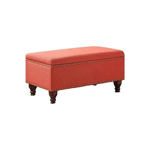 HomePop Quality Elegant Stylish Coral Finish Filander Upholstered Storage Bench, 16.75 H x 35.5 W x 19.5 D