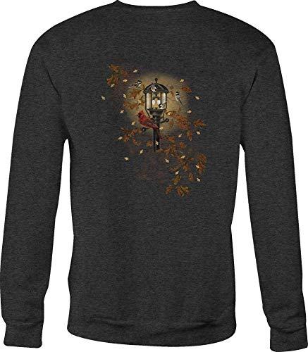 (Crewneck Sweatshirt Chickadee Light Post Fall Leaves - Large Gray)