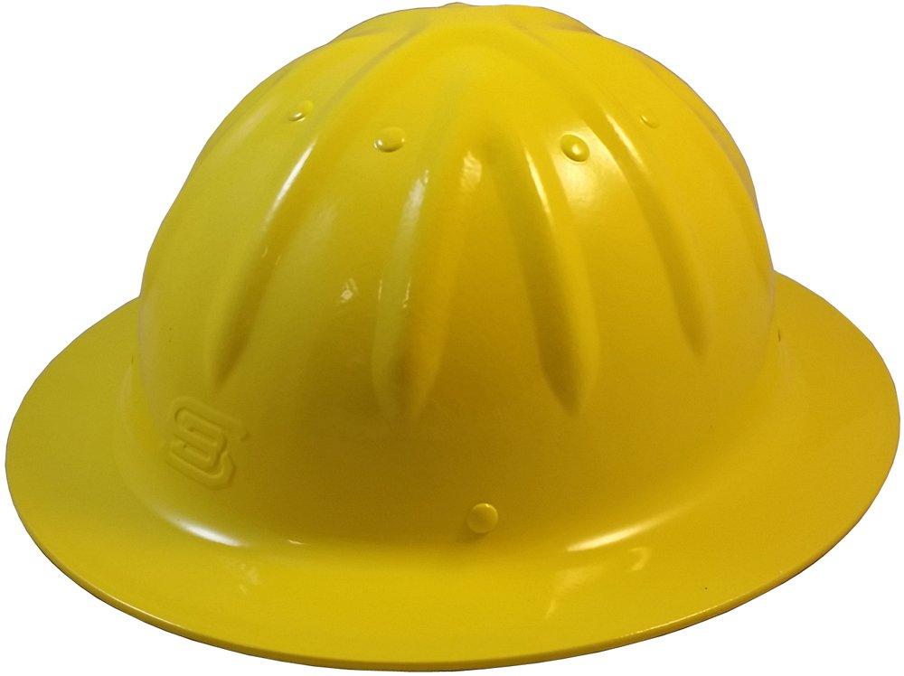 Original SkullBucket Aluminum Hard Hats, Full Brim with Ratchet Suspensions Yellow