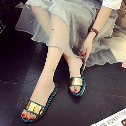 Xilalu Femmes Mode Été Tongs Plats, Sandales Mocassins Bohème Chaussures, Chaussures De Plage Vert