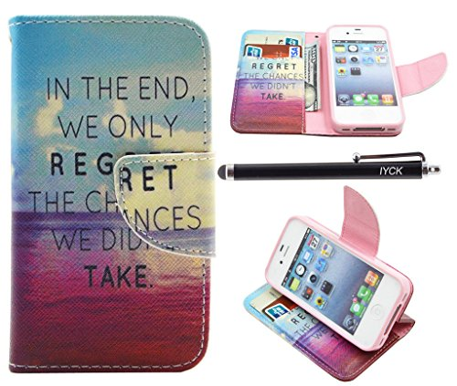 iPhone 4S Case, iPhone 4 Case Wallet, iYCK Premium PU Leather Flip Folio Carrying Magnetic Closure Protective Shell Wallet Case Cover for iPhone 4 / 4S with Kickstand Stand - - Iphone Case Word 4s