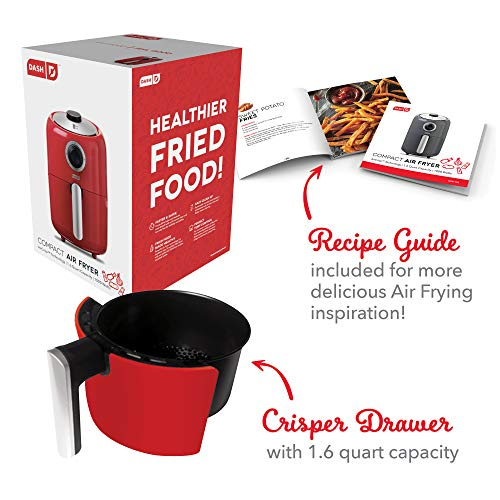 Dash Compact Air Fryer 1.2 L Electric Air Fryer Oven Cooker with Temperature Control, Non Stick Fry Basket, Recipe Guide + Auto Shut off Feature - Red by Dash (Image #6)