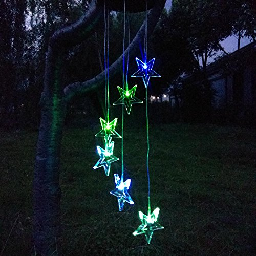 DSstyles LED Solar Changing Color Waterproof Pentagram Wind Chime for Home Party Night Garden Decoration by DSstyles