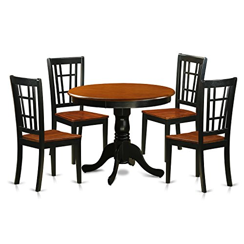 East West Furniture ANNI5-BLK-W 5 Piece Dining Table with 4 Wood Antique Chairs, Black/Cherry Finish