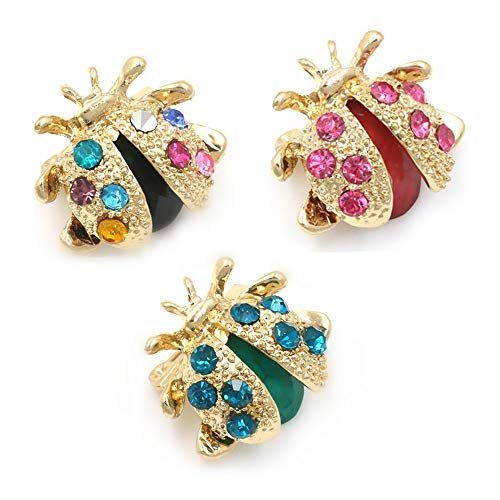 JOYID Cute Tiny Ladybug Brooch Colorful Clothes Scarf Dress Insect Brooch Pins for Women Girls Children (3pcs)