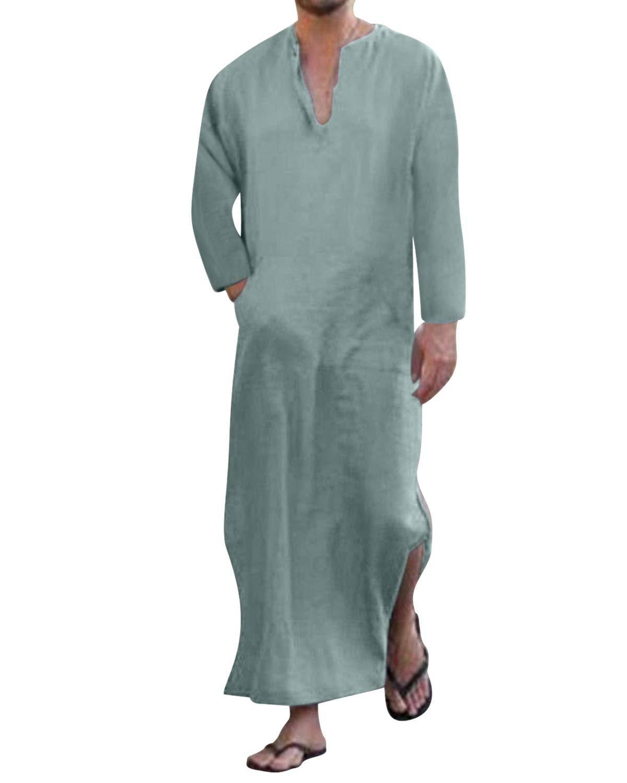 Jacansi Men's Casual Ethnic Linen Kaftan Middle East Saudi Arabic Robes Dresses UK 6-18 Jacansi-CM0000096