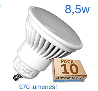 Pack 10x GU10 LED 8,5w Potentisima. Color Blanco Frio (6500K). 970 ...