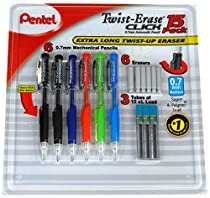 Pentel Twist-Erase Click Mechanical Pencil Set - 6 Mechanical Pencils, 6 Extra Erasers, 3 Tubes of Lead Refills
