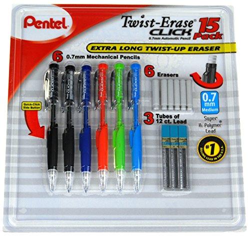 Pentel Twist-Erase Click Mechanical Pencil Set - 6 Mechanical Pencils, 6 Extra Erasers, 3 Tubes of Lead (Lead Pencil Eraser)