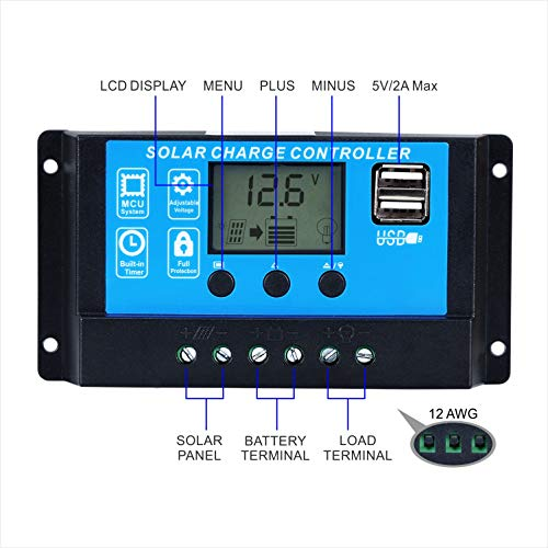 Ela Solar Charger Controller 20A 12V/24V Auto Work Intelligent PWM Solar Panel Charge Controller Regulator with USB Ports LCD Display Overload Protection Timer Setting ON/Off (GC2024) by Ela (Image #3)