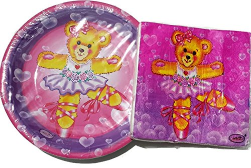 Celebrate!! Dancing Teddy Bear Plates (16) and Napkins - Bear Dancing Flowers