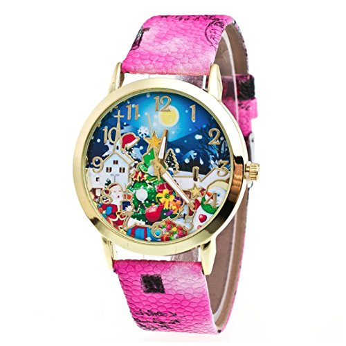 AMA(TM) Men Women Christmas Tree Pattern Leather Band Analog Quartz Vogue Wrist Watch (Hot Pink)