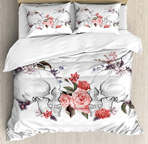 Gothic Duvet Cover Set King Size by Ambesonne, Roses and Skull Feast of All Saints Religious Tradition Illustration Artsy Print, Decorative 3 Piece Bedding Set with 2 Pillow Shams, Coral Grey