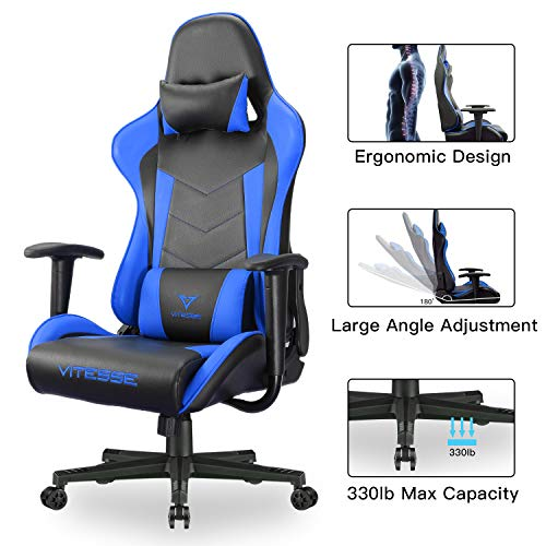 Vitesse Gaming Chair Racing Style High-Back PC Chair Swivel E-Sports Leather Computer Chair Ergonomic Office Desk Chair with Lumbar Support and Headrest (Blue) Uncategorized