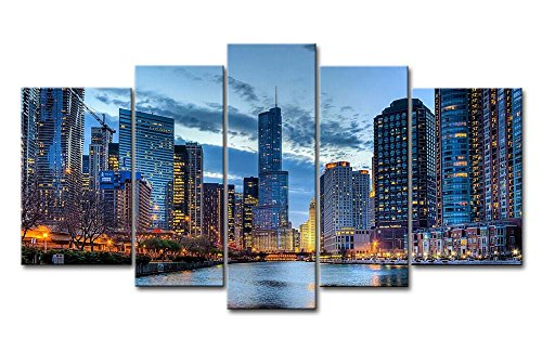 5 Panel Wall Art Painting Chicago Illinois Usa Pictures Prints On Canvas City The Picture Decor Oil For Home Modern Decoration Print (Chicago Skyline Wall Art)