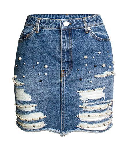 GGUHHU Womens Fashion Pearl Beaded Destroyed Frayed Hem Package Hip Denim Skirts (Medium, Blue)