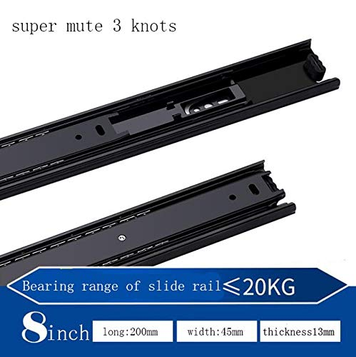 Mute 3 knots 8 inch Three Types of Mute Three Section Cabinet Drawer Slide Rail Three Fold Damping Rebound Buffer Steel Ball Track  (color  Mute 3 Knots 12 inch)