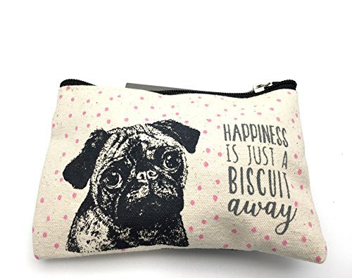 East Of India Pug Design Cotton Purse - Happiness by ukgiftstoreonline