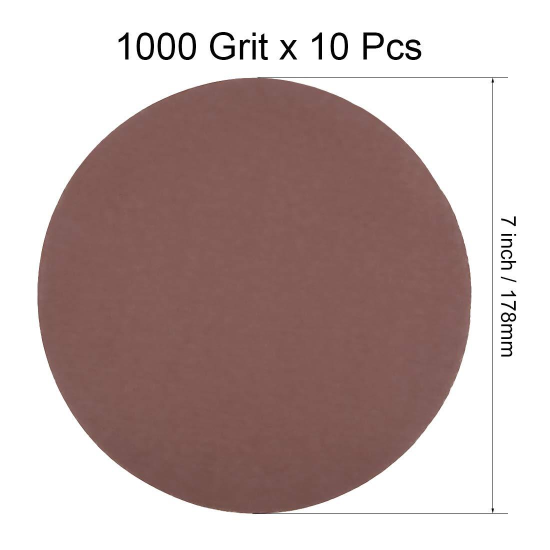 sourcing map 7 Inch Sanding Discs 40 Grits Flocking Sandpaper for Sander 10 Pcs