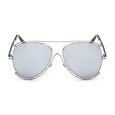 Deylaying Mode Classique Femme et Homme Lunettes de soleil Rond Métal Cadre Miroir UV400 Décontractée Au volant Lunettes de vue CoIgxF
