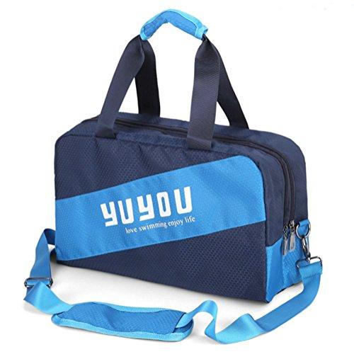 Lalawow 2 in 1 Doppelzonen separat für Trockene und Nasse Wasserdicht Schwimmtasche Strandtasche Badetaasche Duschtasche Sporttasche Packsack Handtasche (Blau)