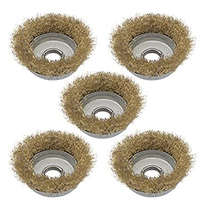 "Yasorn 0.63"" Crimped Wire Cup Brush Wire Wheels for Angle Grinder Pack of 5"